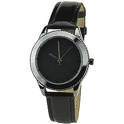 Bellos Damen-Armbanduhr soldes Valentinstag Schwarz Quartz Gehäuse Stahl Analog Armband Kunstleder schwarz