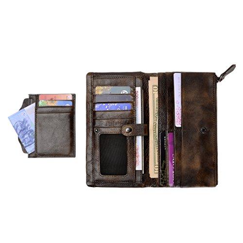 ZLYC stile retrò a mano inclusa in pelle lungo portafoglio con porta carte rimovibile, Brown (marrone) - JC-FLT-5053D-BR-1 Coffee