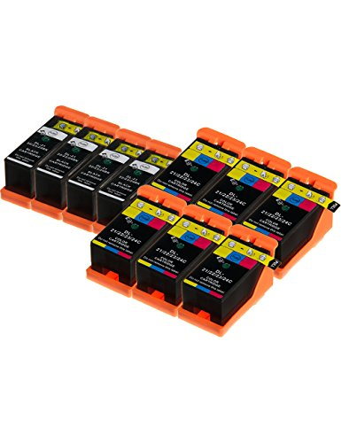 Dell Tintenpatrone Patronen (DOREE 10 Druckerpatronen kompatibel zu Dell 21 / Y498D / Y499D (4x Schwarz, 6x Farbig) passend für Dell P-513-w P-713-w V-310 V-313 V-313-w V-510 V-515-w V-515-w-red V-715-w)