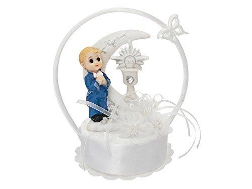 (Feste Feiern zur Kommunion I Junge betend Torte Tisch Deko weiß blau I Großer Bogen mit Mond und Schmetterling)