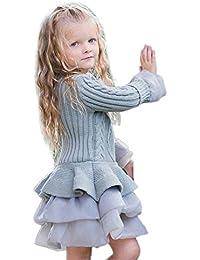 ☺Kinder Mädchen Gestrickte Pullover Winter Pullover Crochet Tutu Kleid Tops Kleidung Pullover Jacke Winter Puffy Rock