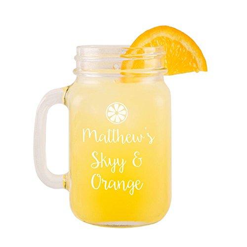 Personalizzato Skyy e vetro arancione Mason Jar, Vodka, regalo di compleanno per lui o per lei