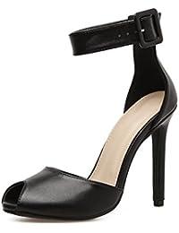 YMFIE Temperamento stile europeo con pelle scamosciata a punta sexy 踝 con scarpe da donna single con tacco alto scarpe da sposa, 38 EU, A