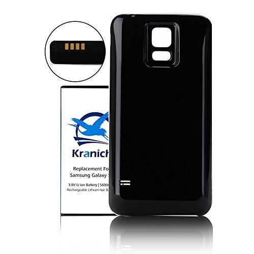 Kranich® 5600mAh Lithium ion Ersatzbatterie Akku für Samsung Galaxy S5, Großer Kapazität Zusatz Akku Austauschakku mit NFC Funktion, mit Schwarzem Rückseitige Deckel Abdeckung Cover Case, Dicker als Original Batterie.