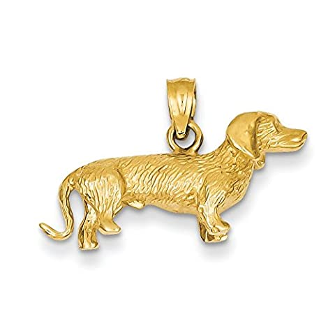 14ct Yellow Gold Solid Polished 3-Dimensional Wire Haired Dachshund Charm - Measures 16x24mm