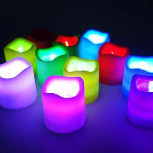Candele led giallo ambra candela lumini xcellent global con batteria per festa di nozze club decor moderno 12-colorful
