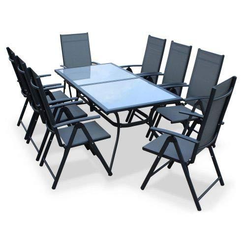 Salon de Jardin en Aluminium et textilène - Naevia - Gris, Anthracite - 8 Places - 1 Grande Table rectangulaire, 8 fauteuils Pliables