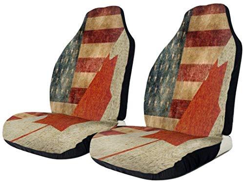 Vintage American Canada Flag Coprisedile per auto Impermeabile Resistente Seggiolino auto Protector Universale Comodo Cuscini per seggiolino auto Tappetino in poliestere Cuscino per auto