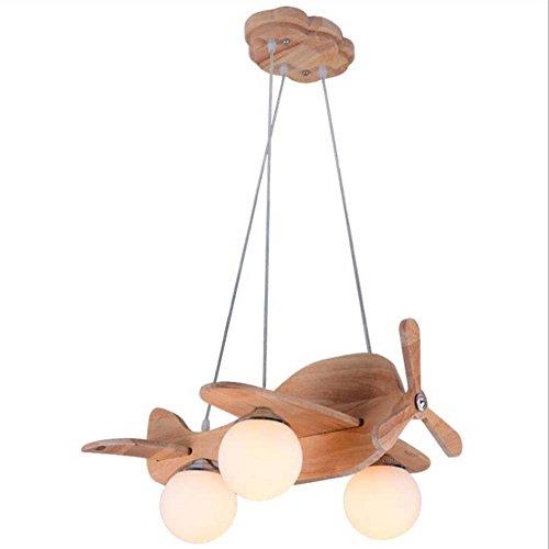 Lámpara colgante de cómic, lámpara de techo de madera modelo de avión, pantalla creativa moderna de cristal para dormitorio de niño o niña, lámpara colgante LED E27 (sin fuente de luz)