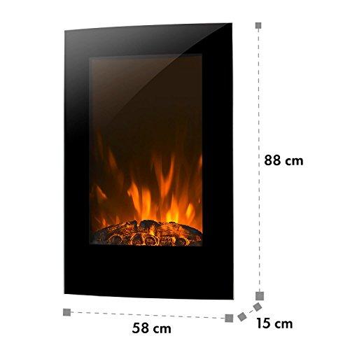 Klarstein Lausanne Vertical Chimenea de Pared • Calefactor eléctrico • Potencia de...