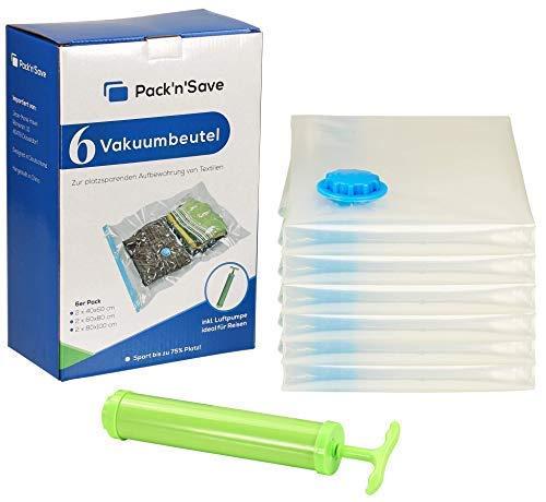Pack'n'Save 7 tlg Starterset Vakuumbeutel / Aufbewahrungsbeutel für Kleidung in verschiedenen Größen (je 2 Stück: klein 40x60, mittel 60x80, groß 80x100 cm) inkl. Luftpumpe für Reisen -