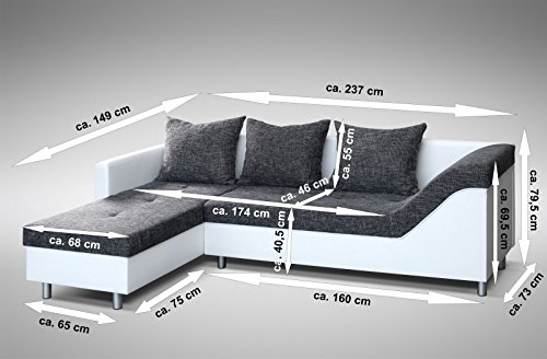 Sofa Couch Ecksofa Eckcouch Sofagarnitur in weiss / graubraun – Lissabon 2- L