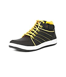 Golden Sparrow MenS Black Fabric Synthetic Casual Shoe (Tm-D03-08)- 8 Uk