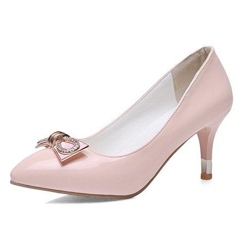 VogueZone009 Damen Spitz Zehe Ziehen Auf Pu Leder Rein Mittler Absatz Pumps Schuhe Pink
