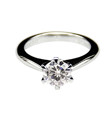 .5ct/2.0ct Rundschliff moissanites Center Verlobungsring 14 K Weißgold 6-prongs Ring (Moissanite Ringe)