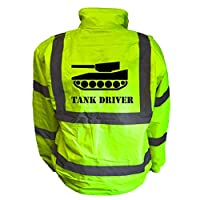 Tank Driver Kids Hi Vis Yellow Bomber Jacket, Reflective High Visibility Safety Childs Coat, By Brook Hi Vis