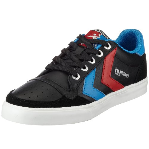 hummel STADIL LOW 63-064-2640, Unisex - Erwachsene Fashion Sneakers, Schwarz (BLACK/BLUE/RED 2640), EU 44