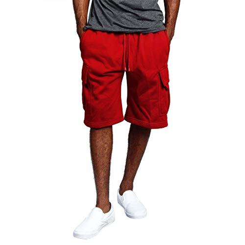 Cargo Shorts Herren Chino Kurze Hose Sommer Bermuda Sport Jogging Training Stretch Shorts Fitness Vintage Regular Fit Sweatpants Baumwolle Qmber Werkzeugshorts mit Mehreren Taschen Overall(Red,L) -