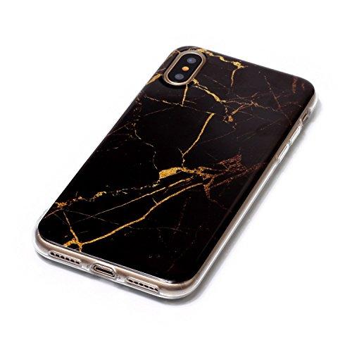 inShang iPhone X 5.8inch custodia cover del cellulare, Anti Slip, ultra sottile e leggero, custodia morbido realizzata in materiale del TPU, frosted shell , conveniente cell phone case per iPhone X 5. Black marble