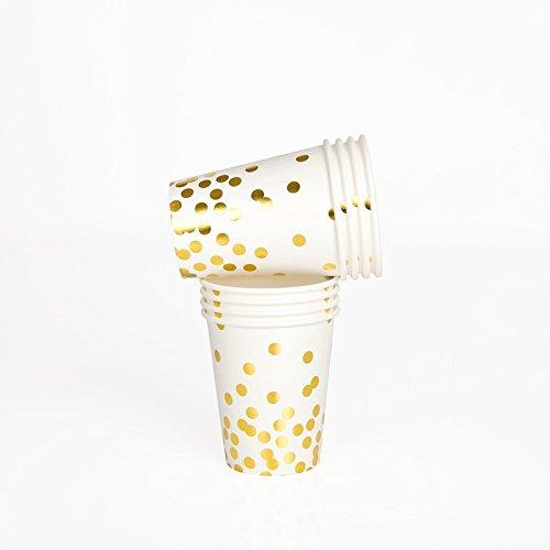 """10 Elegante Pappbecher aus der Serie """"Gold Confetti"""" mit Gold Glänzenden Punkten"""