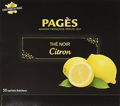 PAGÈS Thé Noir Citron 50 Sachets 100 g - Lot de 4