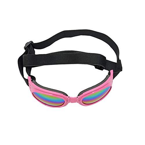 Pettneeds-Pet goggles Winddichte Schutzbrille für Haustiere Haustier/Hund Welpe UV-Schutzbrille Sonnenbrille Wasserdichter Schutz Faltbare Sonnenbrille Für Hund (Farbe : Rosa, Größe : Free Size)