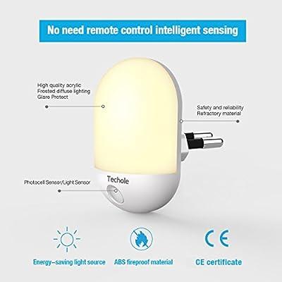 Nachtlicht Steckdose Techole LED Nachtlicht Kind mit Dämmerungssensor Baby Licht automatisch Stromsparendes für Kinderzimmer, Schlafzimmer, Badezimmer, Gang usw. (Warmweiß) von Techole