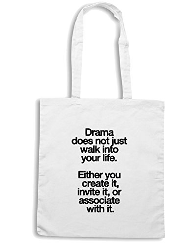 T-Shirtshock - Borsa Shopping CIT0067 Drama does not just walk into your life Bianco