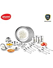 Jensons Stainless Steel Heavy Gauge with Permanent Daisy Design Dinner Set