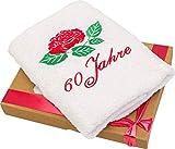 Abc Casa Handtuch mit Gestickter Rose Zum 60 Geburtstag für Alle Frauen und Damen - Ein Schönes und Nützliches 60 Jahre Geburtstagsgeschenk - Eine Praktische 60 Jähriges Jubiläum Geschenkidee
