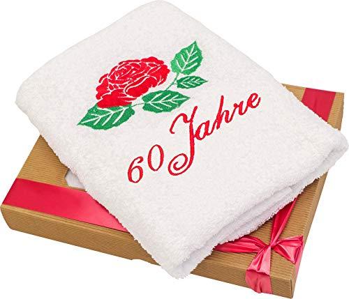t Gestickter Rose Zum 60 Geburtstag für Alle Frauen und Damen - Ein Schönes und Nützliches 60 Jahre Geburtstagsgeschenk - Eine Praktische 60 Jähriges Jubiläum Geschenkidee ()
