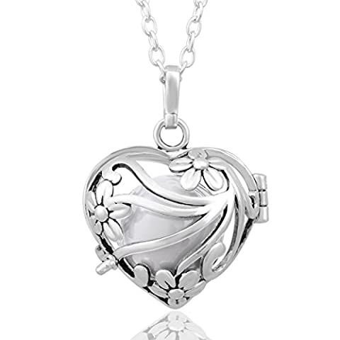 Eudora Harmony Ball Heart Pendant for Women Mother Day Necklace Chain Silver Lucky Sounds Bell White