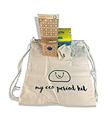 Menstrual cup (1), Biodegradable sanitary napkins (14) and Reusable organic cotton cloth pads (3) + 1 cotton cloth bag free - MYECOPERIODKIT
