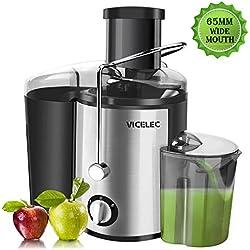 Extracteur de jus de fruits et légumes en acier inoxydable VICELEC 600 W Centrifugeuse avec une bouche large de 65 mm, 2 vitesses en acier inoxydable avec pieds antidérapants, sans BPA.