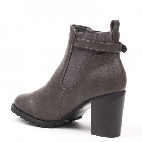 Ideal Shoes - Bottines à talon épais style chelsea avec ceinturon Kahyna Gris