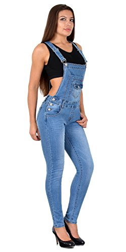 ESRA Damen Jeans Latzhose Skinny Latzjeans Overall Jeans-Latzhose mit Träger H340 -
