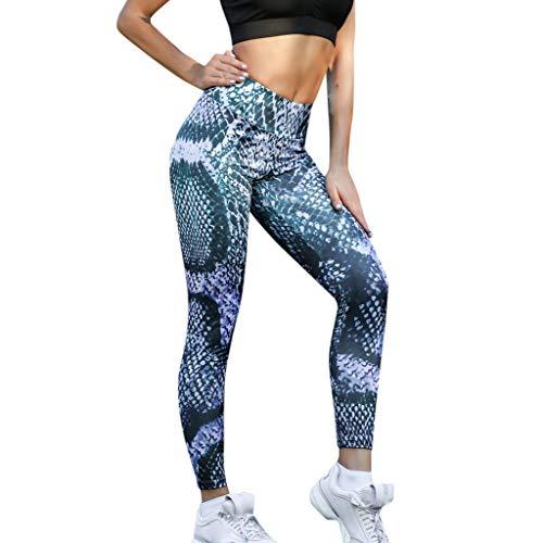 CAOQAO Yoga Leggings Caprihose Printed Damen Hohe Taille Yoga Snake Print Laufen Sport Hosen Hosen (Leder Snake Leggings)