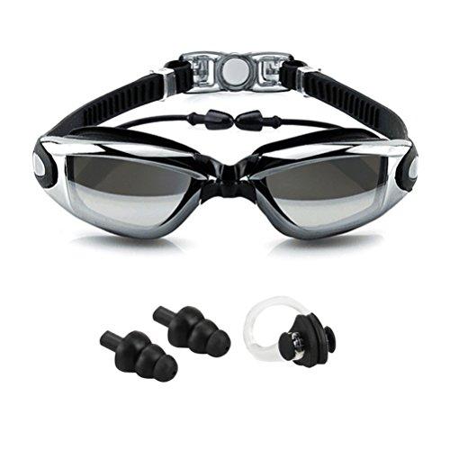 Beito Schwimmbrille mit Ohrstöpsel Kein Auslaufen Anti Nebel UV-Schutz Verstellbarer Riemen Schwarz-Schwimmbrille + Fall + Nase Clip + Ear Plugs