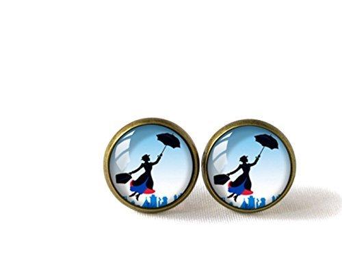 Ohrstecker aus Glas im Retro-Stil bzw. Mary-Poppins-Stil, von Hand gefertigt
