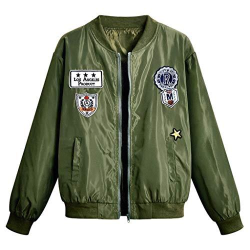 Xmiral Jacke Damen Applique Persönlichkeit Baseballjacke Reißverschluss Mantel Große Größe Stehkragen Slim Fit Winter Herbst Sport Jacke(Armeegrün,L) -
