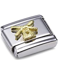 Nomination Composable Classic Relief Monument Piazza di Spagna Stainless Steel and 18K Gold h94990h