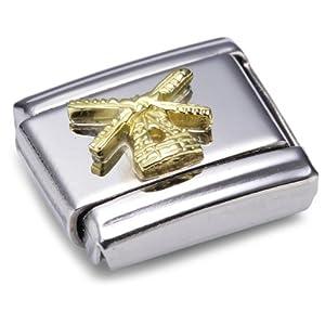 Nomination Composable Classic RELIEF MONUMENT Edelstahl und 18K-Gold (Windmuhle) 030123