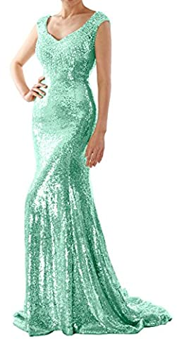 MACloth Women Mermaid Sequin Long Prom Dress Formal Evening Wedding Party Gown (44, Mint)