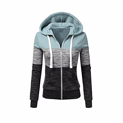 Newbestyle Jacke Damen Kapuzenpullover Strickjacke Pullover Sweatshirt Hoodies Kontrastfarbe Pulli Grau Medium