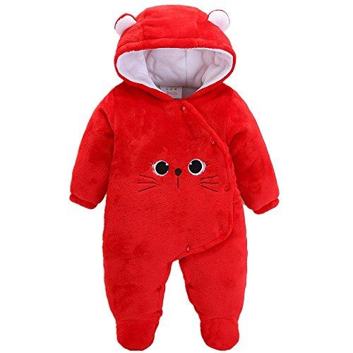 Morbuy Jumpsuit Bebé Unisexo Bebé Recién Nacido Franela Mameluco Invierno Ropa Una Pieza Pijamas Monos Caricatura Trajes (59, Gatito Rojo)