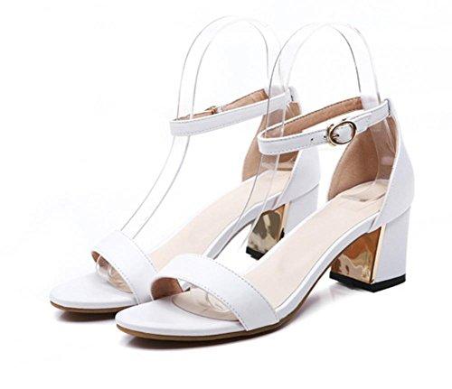 Matte weiblichen Sommer Sandalen mit dick mit runden Kopf Frauen Sandalen mit weichen Sohlen Schuhe White