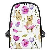 KASMILN Nahtlose Muster Aquarell Bären, die Luft halten,Schulrucksack für Mädchen Cute Backpack College Bags