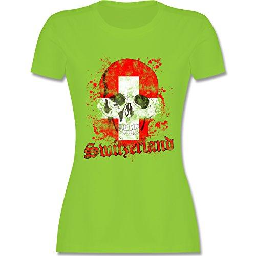 EM 2016 - Frankreich - Switzerland Schädel Vintage - tailliertes Premium T-Shirt mit Rundhalsausschnitt für Damen Hellgrün