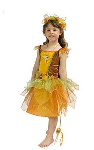 Karneval-Klamotten Waldfee Kostüm Kinder Fee Kostüm Elfe-n Kostüm Mädchen mit Blumenkranz und Stäbchen Kinderkostüm Größe ()