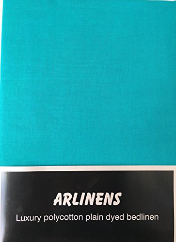 ARLINENS Luxury Plain Dyed Poly Cotton Platform Base Valance Sheet in Following Colours and Sizes (DOUBLE, TEAL)